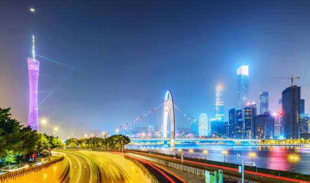 moderne metropole skyline, guangzhou, china, - twilight teile stock-fotos und bilder