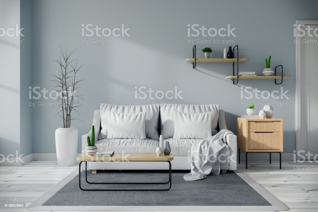 Modern mid century and minamalist interior of living room design concept, white sofa and wood table on blue wall and wood floor ,3d render stock photo
