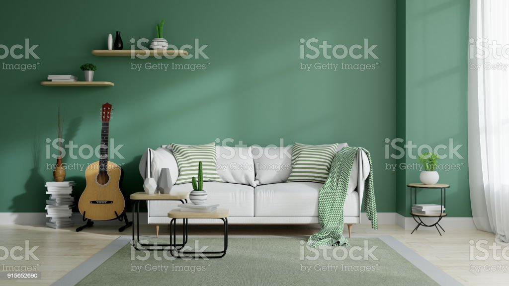 Modern mid century and minamalist interior of living room, eco space concept  design , white sofa and green plant on green wall and wood floor ,3d render royalty-free stock photo