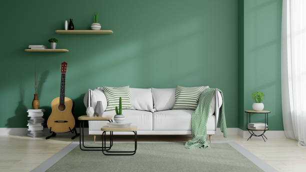 Modern mid century and minamalist interior of living room, eco space concept  design , white sofa and green plant on green wall and wood floor ,3d render stock photo