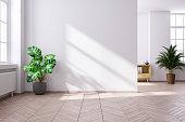 Modern mid century and minimalist interior of living room,empty room,3d render