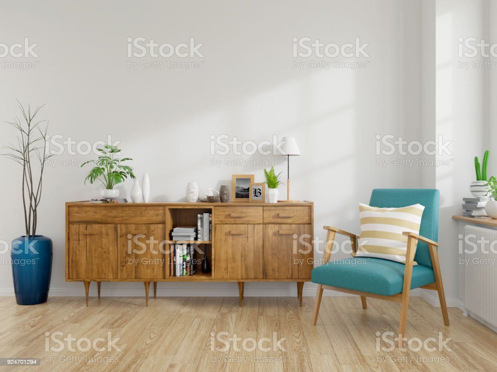 Modern mid Century and vintage interior of living room ,blue lounge chair with wood cabinet on white wall and wood floor  in front of a window ,empty room ,3d rendering stock photo