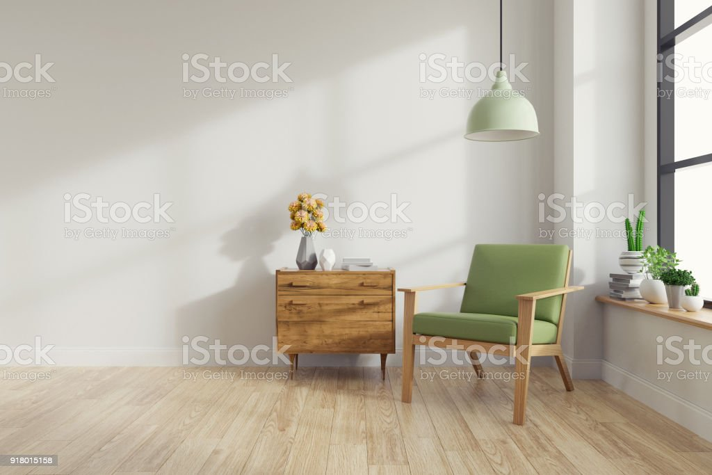 Modern mid Century and vintage interior of living room ,green lounge chair with wood table on white wall and wood floor  in front of a window ,empty room ,3d rendering stock photo