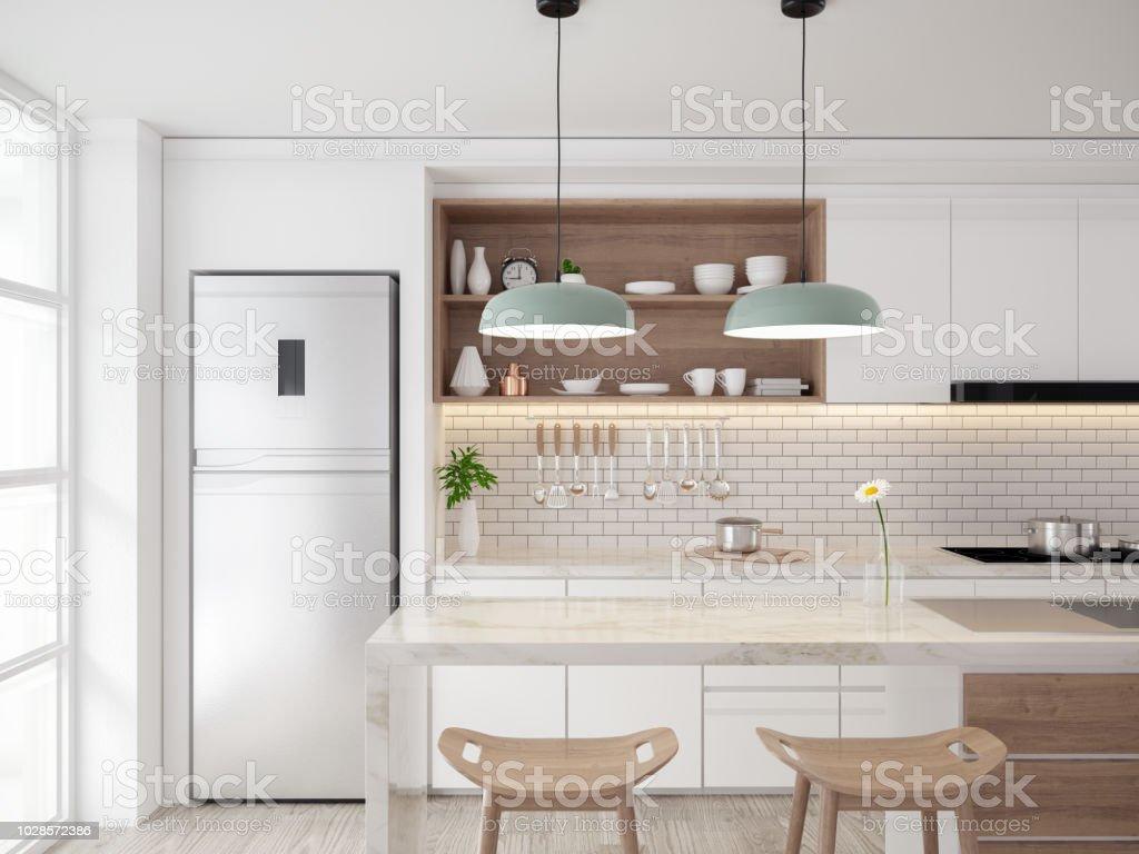 Mitte Des Jahrhunderts Moderne Kichen Raum Innenraum Konzept Design,  Gemütliche Wohnung, 3drender Lizenzfreies