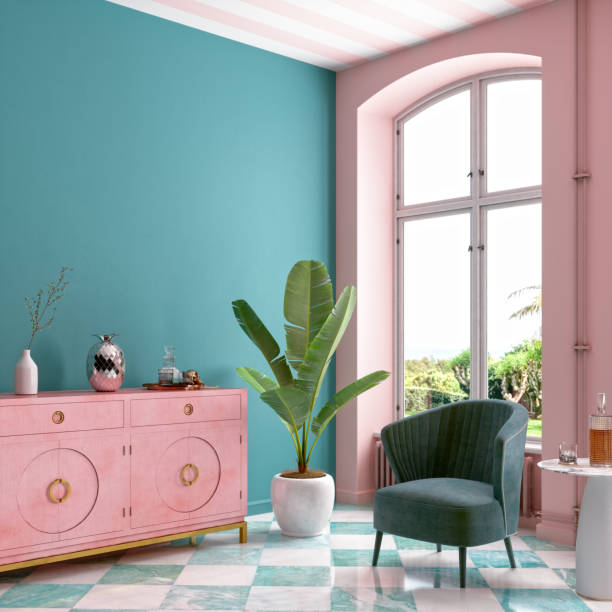 Modern Mid Century Living Room Interior In Pastel Colors stock photo