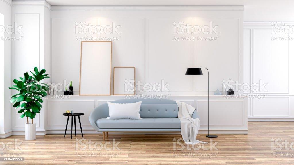 Modern mid Century room interior , Light blue sofa on white room,3d rendering stock photo