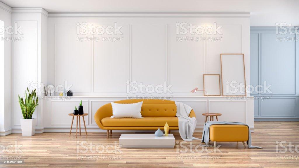 Modern mid Century room interior , Yellow sofa on white room,3d rendering stock photo