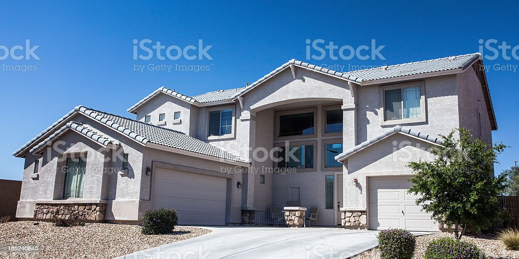 Modern middle class home in Arizona stock photo