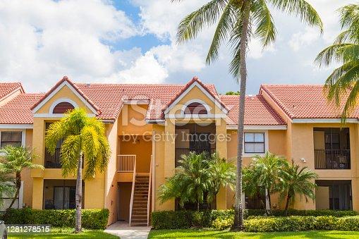 istock Modern middle-class neighborhood architecture in Miami , Florida, USA 1281278515