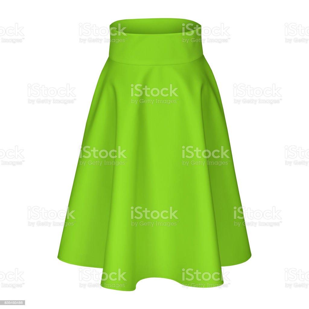 Modern midi green chartreuse silk satin skirt isolated on white stock photo