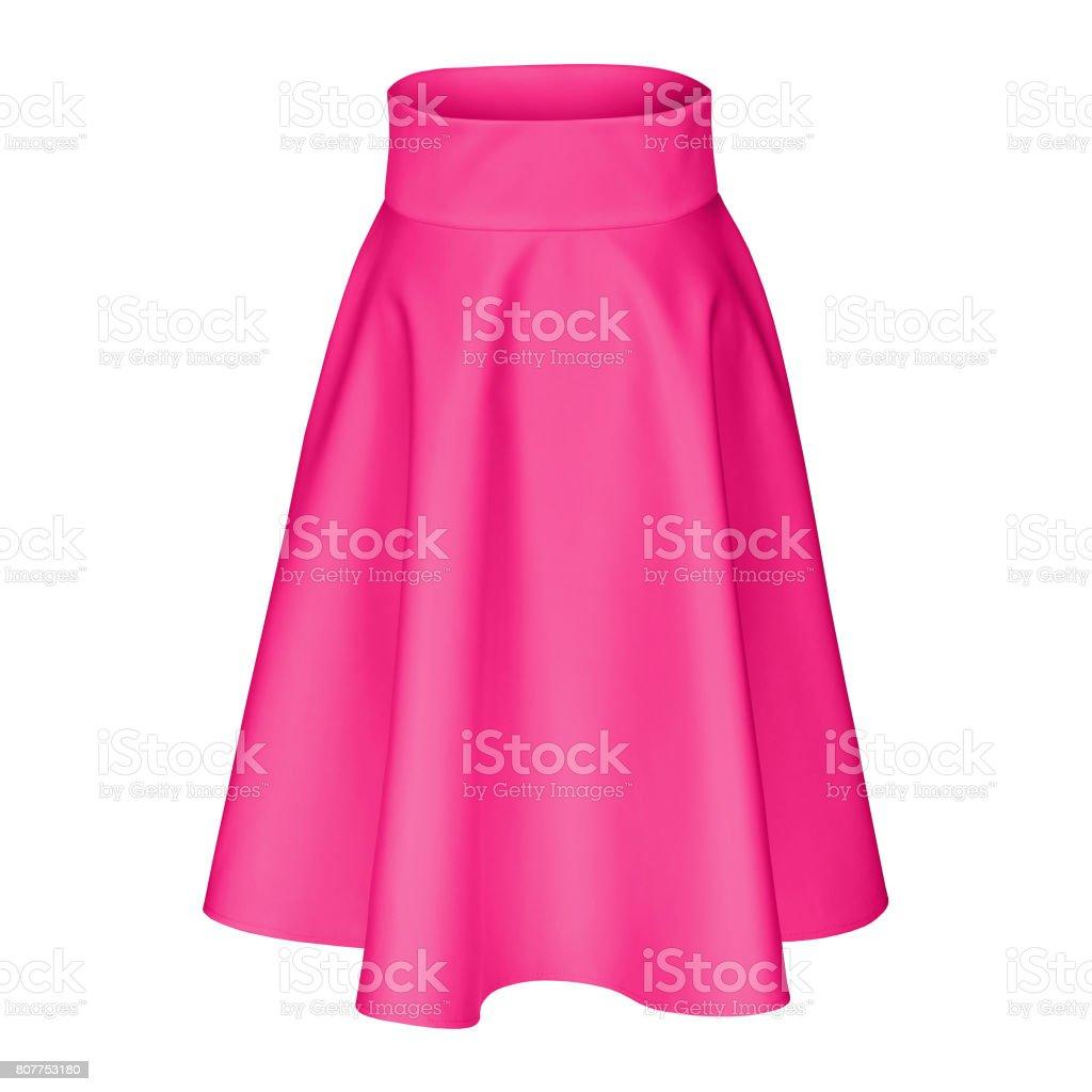 Modern midi hot pink fuscia silk satin skirt isolated on white stock photo