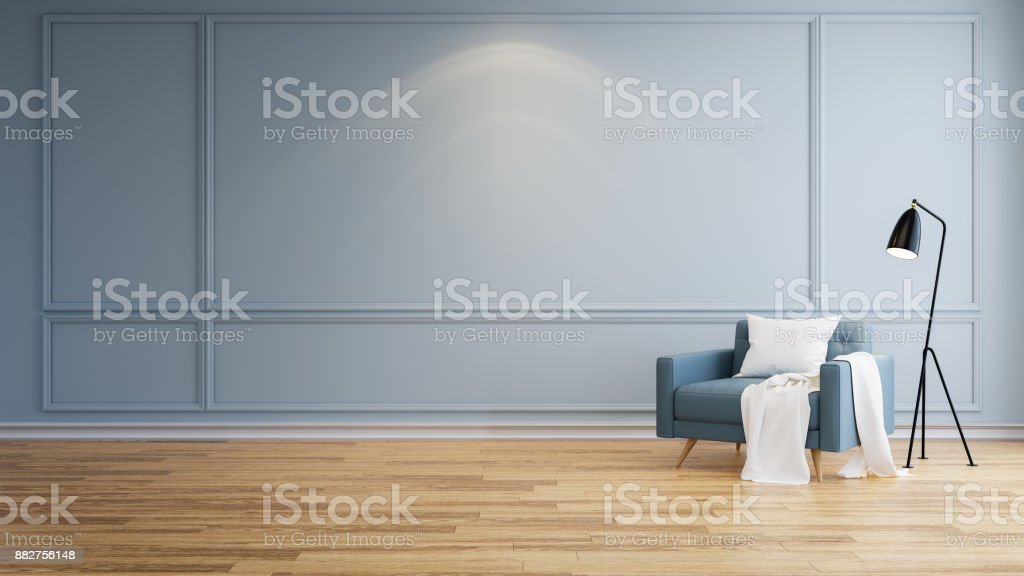 Modern minamalist interior of living room, Blue armchairs on wood flooring and blue wall  ,3d rendering stock photo