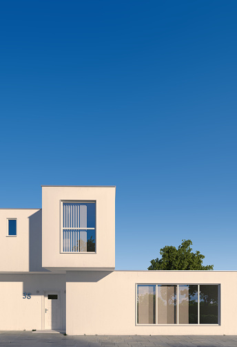 modern minimal white hoouse in composition