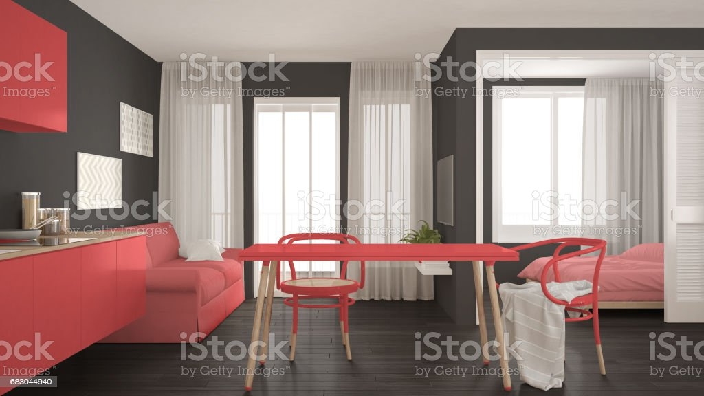 Modern minimal kitchen and living room with bedroom in the background, small apartment, gray and red interior design foto de stock royalty-free