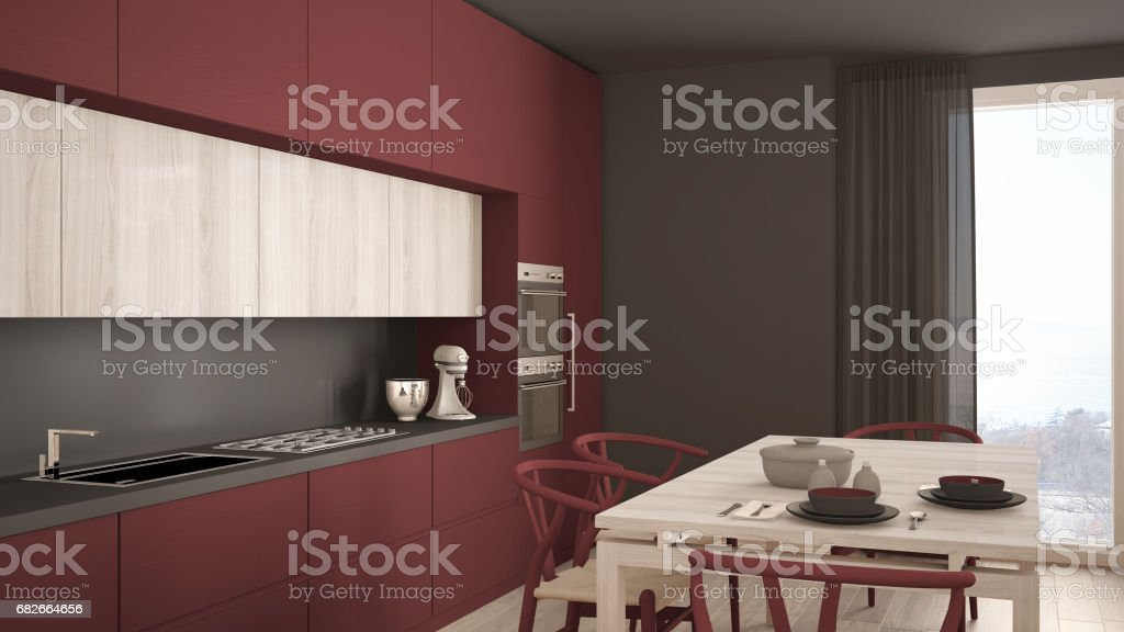 Modern Minimal Red Kitchen With Wooden Floor Classic Interior