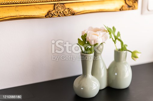 Modern minimalism living room decoration decor on table in house with green pink flowers in ceramic vase plant home interior