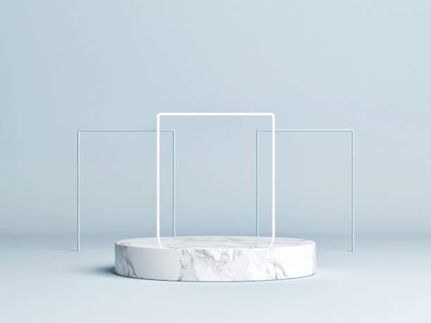 Moderner Minimalismus mock up Podium Display, blauer Hintergrund – Foto