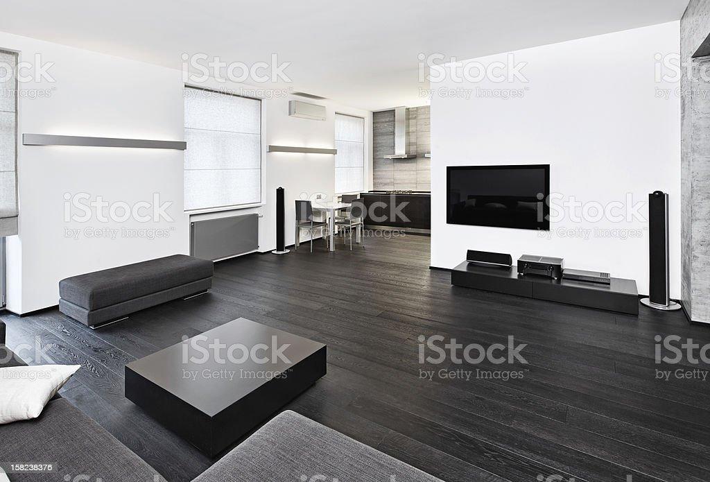 Salotto Moderno Bianco E Nero : Salotto interno moderno minimalismo nei toni bianco e nero