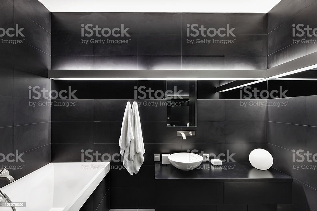 Modern minimalism style bathroom interior in black and white tones royalty-free stock photo
