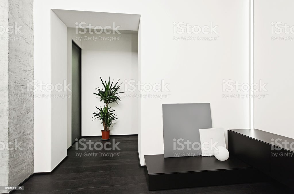 Modern minimalism style hall interior in black and white tones royalty-free stock photo