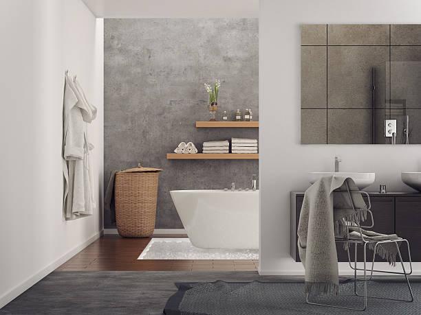 banheiro minimalista moderno - banheiro doméstico - fotografias e filmes do acervo