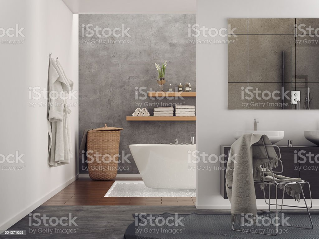 Modern minimalist bathroom stock photo
