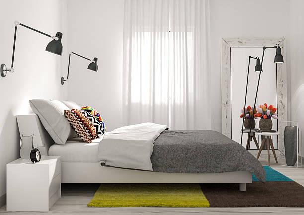 moderne minimalistische schlafzimmer - nachttischleuchte stock-fotos und bilder
