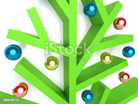 Modern, minimalist Christmas tree with baubles