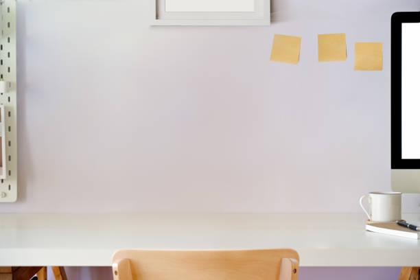 Modern minimalist desk workspace table and copy space Modern minimalist desk workspace table and copy space empty desk stock pictures, royalty-free photos & images