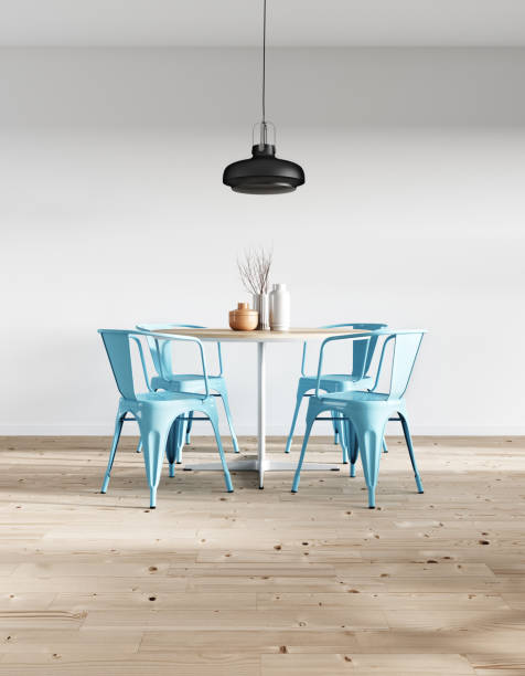 modern minimalist dining room - nelleg stock photos and pictures