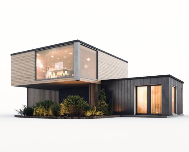 Modern Minimalist Family Villa Isolated stock photo