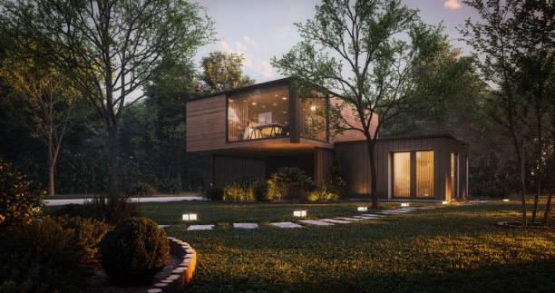 Modern Minimalist Family Villa stock photo