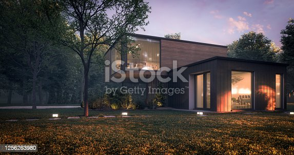 Digitally generated modern and minimalist family house/villa with garage and a terrace.  The scene was rendered with photorealistic shaders and lighting in Autodesk® 3ds Max 2020 with V-Ray 5 with some post-production added.