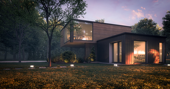 Digitally generated modern and minimalist family house/villa with garage and a terrace.\n\nThe scene was rendered with photorealistic shaders and lighting in Autodesk® 3ds Max 2020 with V-Ray 5 with some post-production added.