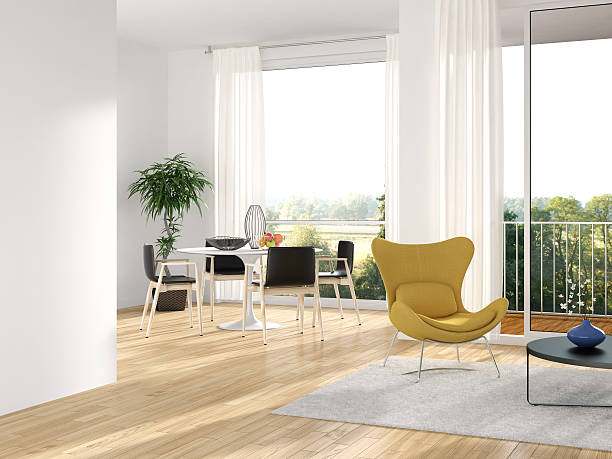 modern minimalist interior - nelleg stock photos and pictures