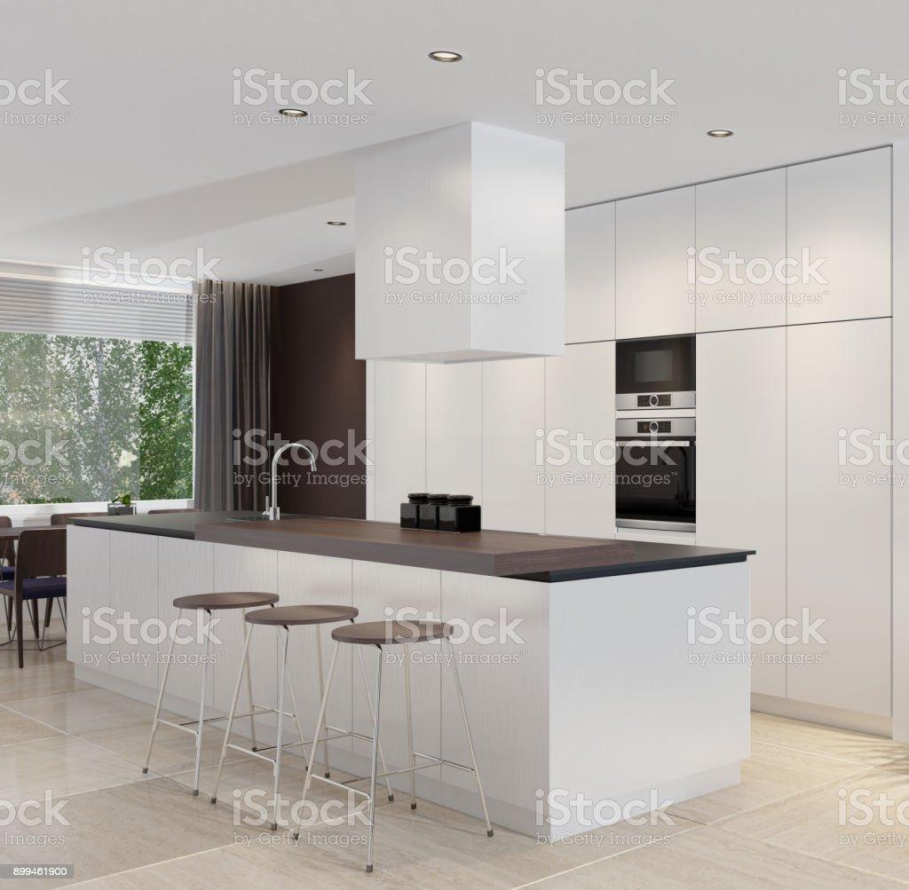 Moderne Minimalistische Küche Mit Essbereich Stockfoto und mehr Bilder von  Blume