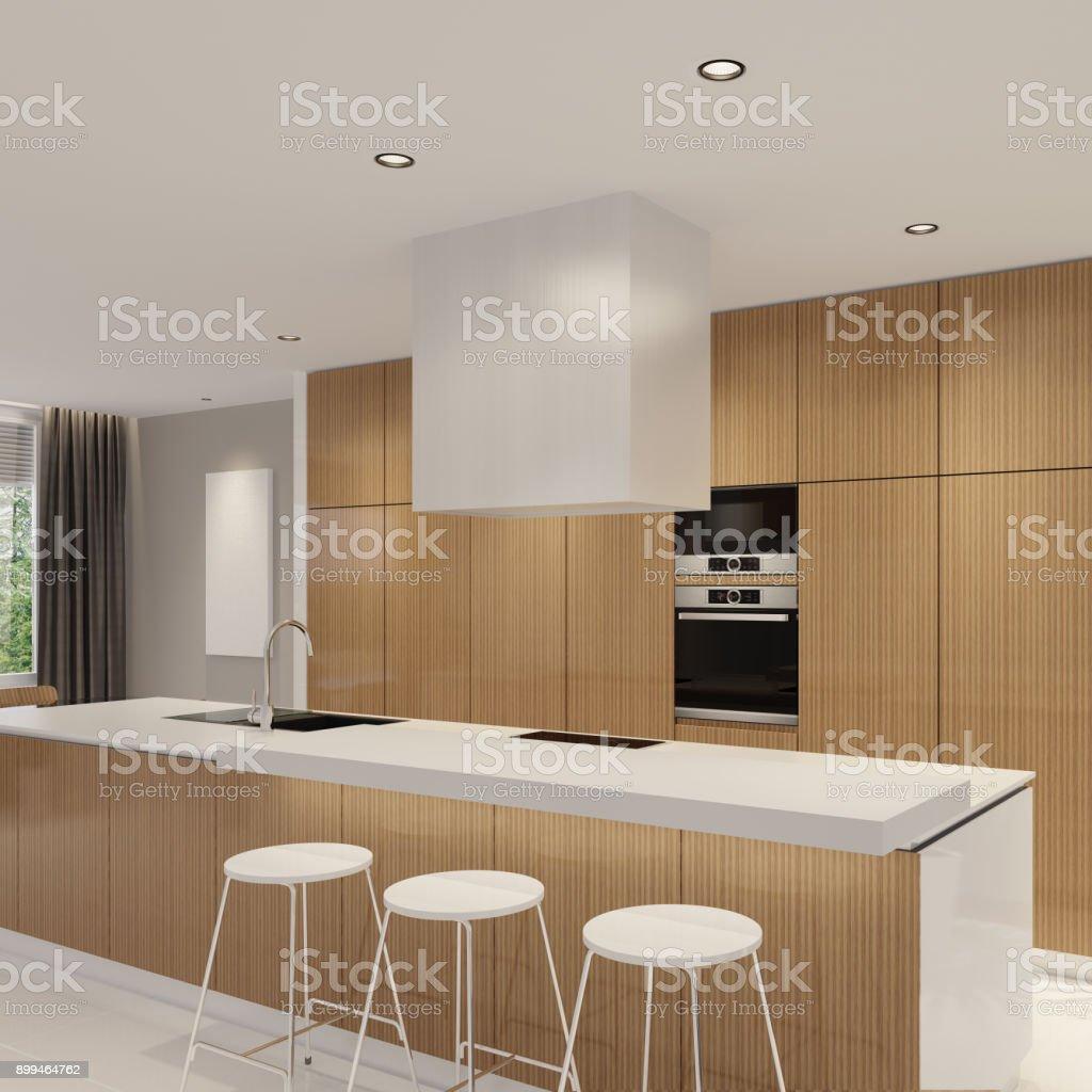 Modern Minimalist Kitchen With Dining Stock Photo   Download ...