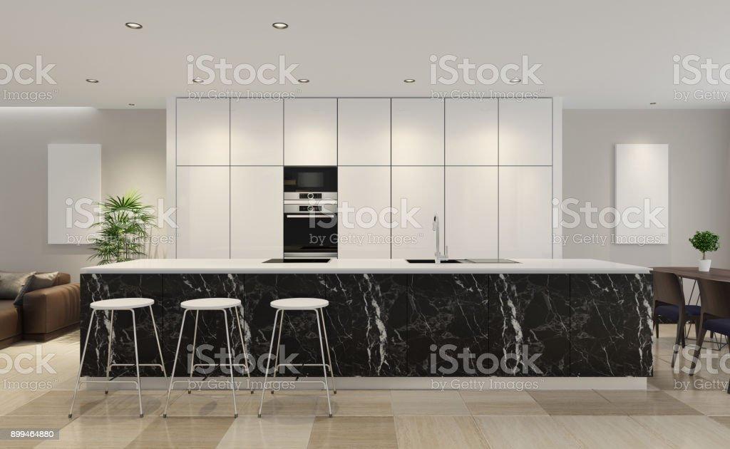 Moderne minimalistische Küche mit Essbereich – Foto