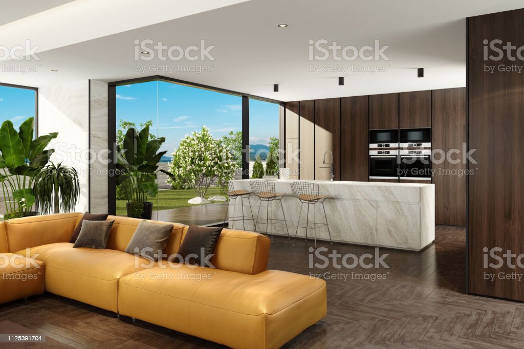 Modern Minimalist Living Room And Kitchen With Garden Stock Photo Download Image Now Istock