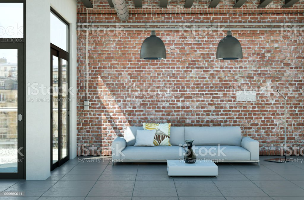 Modern Minimalist Living Room Interior In Loft Design Style With Sofas  Stock Photo - Download Image Now