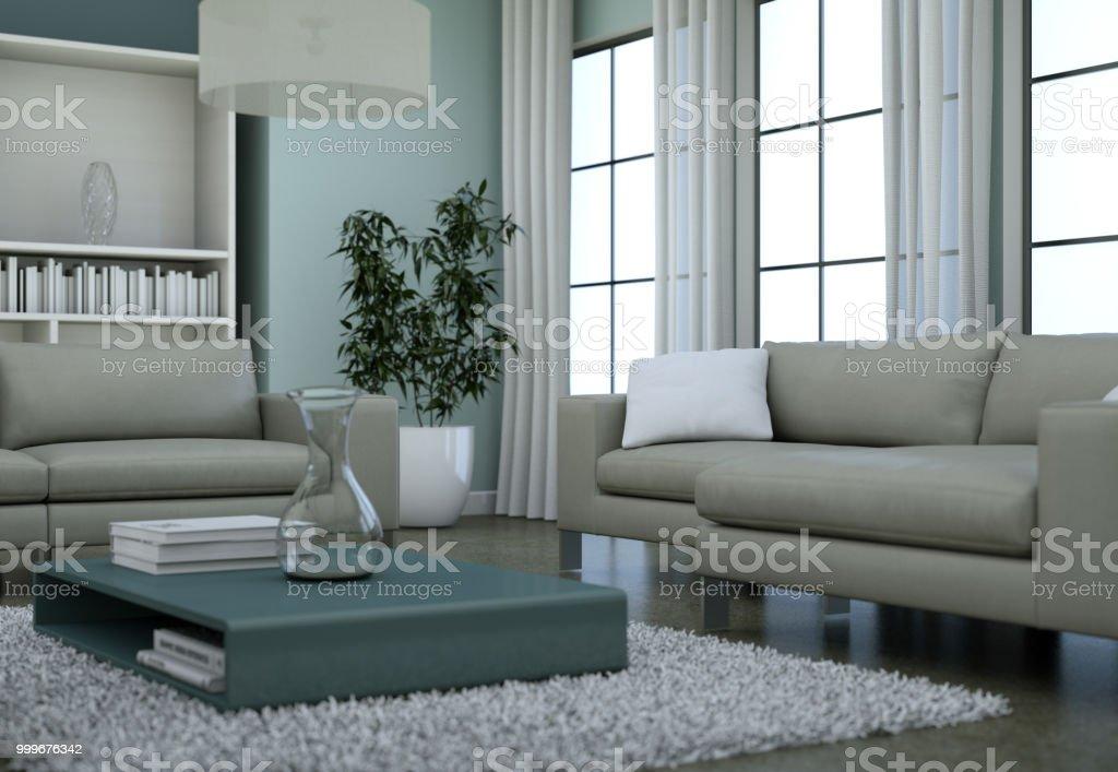 Modern Minimalist Living Room Interior In Loft Design Style ...
