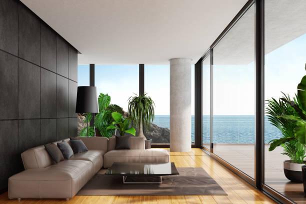 Modernen minimalistischen Wohnzimmer mit großen Panorama-Meerblick – Foto