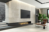 Modern minimalist living room with eco fireplace