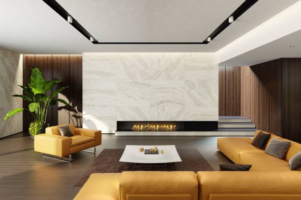 modernen minimalistischen wohnzimmer mit eco kamin - kamin wohnzimmer stock-fotos und bilder