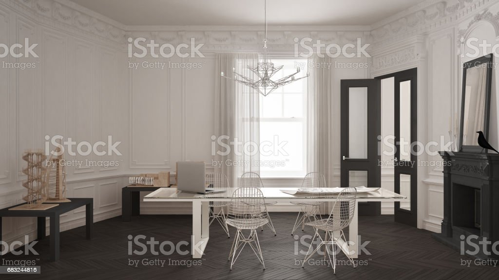 Modern minimalist office in classic vintage room with fireplace, luxury white and gray interior design 免版稅 stock photo