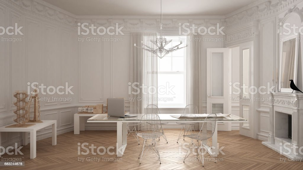 Modern minimalist office in classic vintage room with fireplace, luxury white interior design stock photo