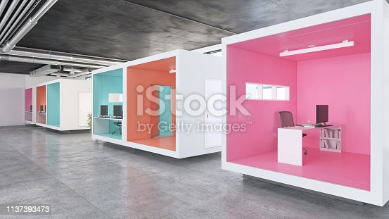 Modern minimalist office interior with concrete floor. Colorful work spaces with black ceiling, office chair, office desk and computer monitor. Template for copy space. Render.