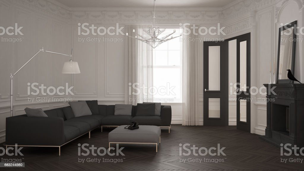 Moderne Minimalistische Sofa Im Klassischen Vintage Wohnzimmer Mit Kamin,  Luxus Weiße Und Graue Innenausstattung