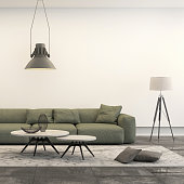 Square frame showing a penthouse loft living room, with green sofa, concrete polished floor, decorative tables, a lamp, industrial chandelier and decoration. Brightly lit white scene. 3d render