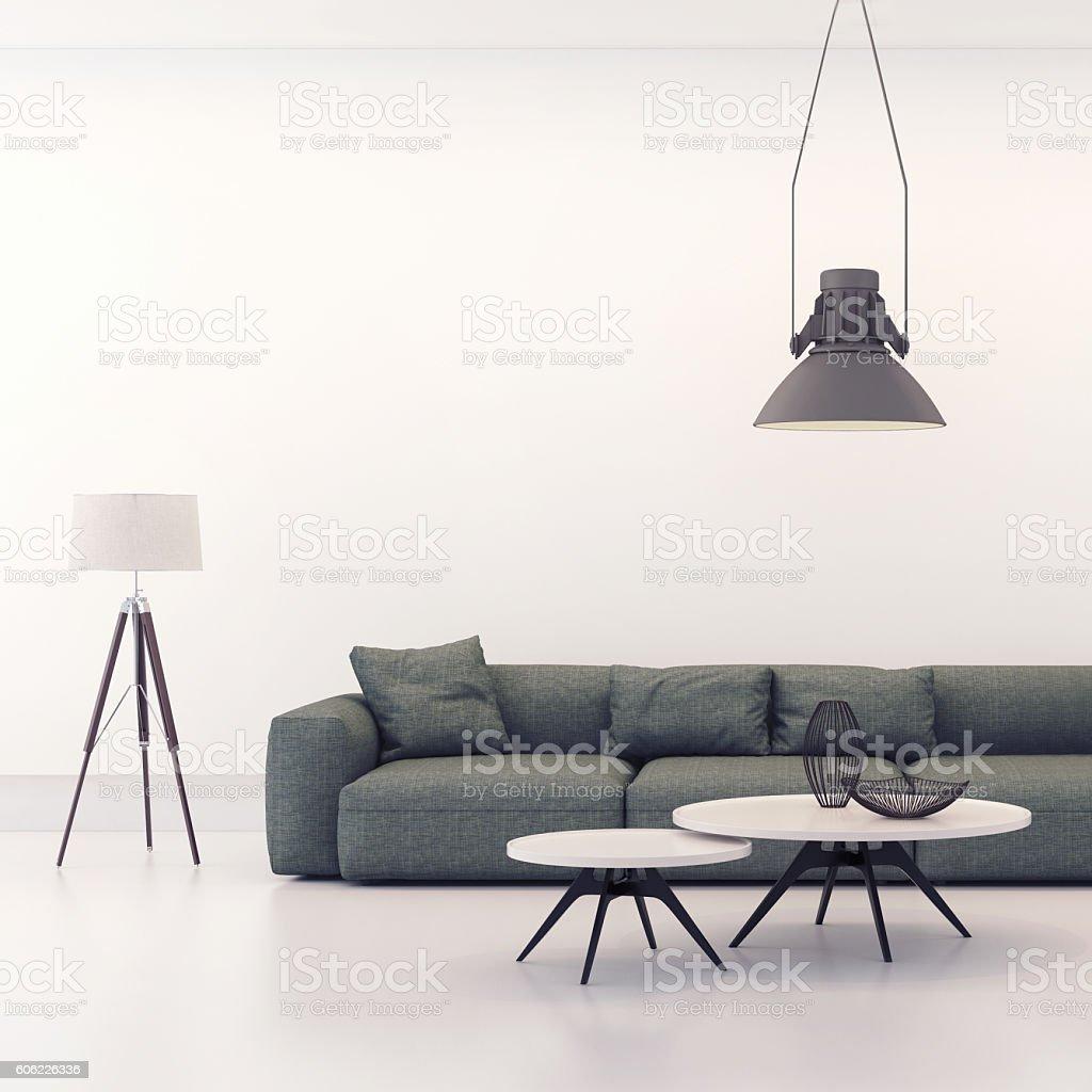 Modern minimalist style loft living room stock photo